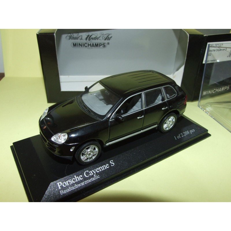 porsche cayenne s i phase 1 955 2002 noir minichamps 1 43 43miniauto. Black Bedroom Furniture Sets. Home Design Ideas
