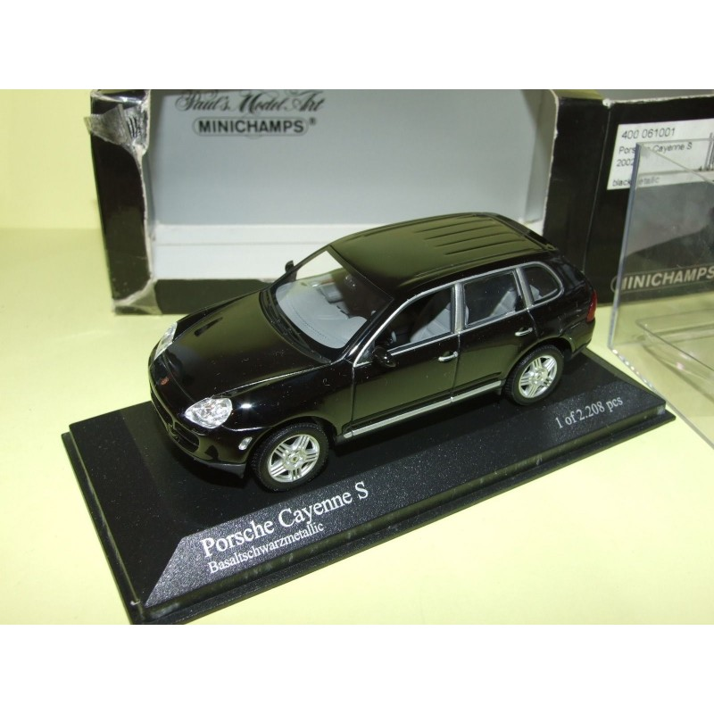 porsche cayenne s i phase 1 955 2002 noir minichamps 1 43 contreboite abim e 43miniauto. Black Bedroom Furniture Sets. Home Design Ideas