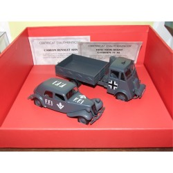 CITROEN TRACTION & RENAULT AHN COFFRET MILITAIRE ATLAS 1:43