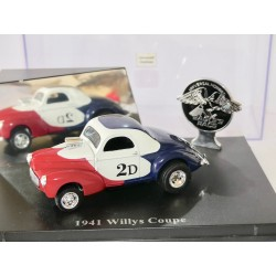 WILLYS COUPE 1941 Bleu Blanc Rouge UNIVERSAL HOBBIES  1:43