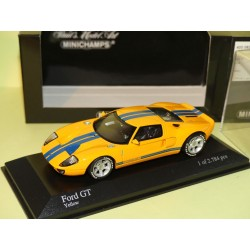 FORD GT 40 2004 Orange Bande Bleu Yellow MINICHAMPS 1:43