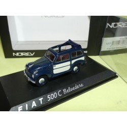 FIAT 500 C BELVEDERE Bleu et Blanc NOREV 1:43